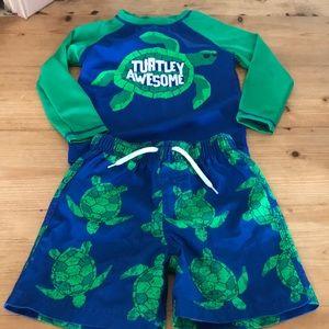 2T boys swim shirt and shorts